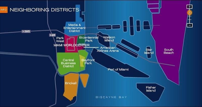 Mapa das melhores regiões para ficar em Miami