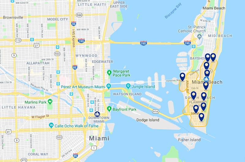 Mapa com as melhores regiões para ficar em Miami