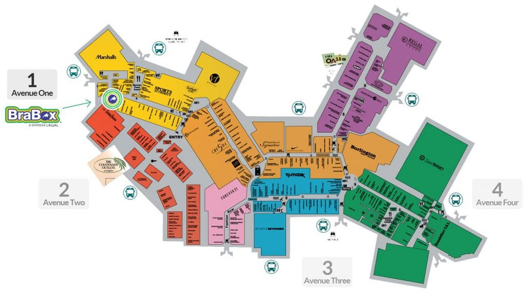Mapa do outlet Sawgrass Mills Miami