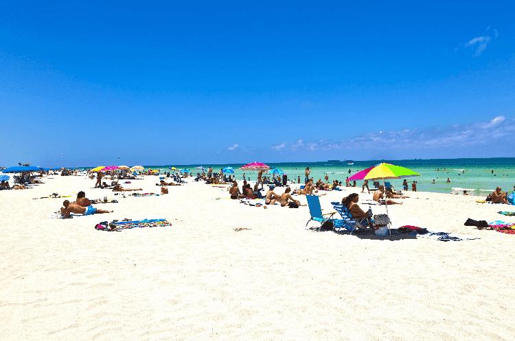 Praias turísticas em Miami