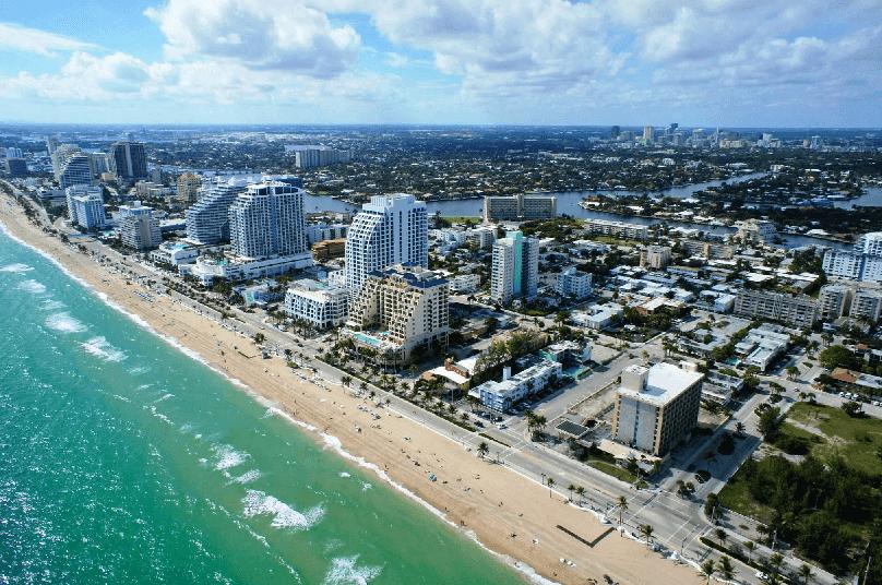 Passeio pelas praias turísticas em Miami