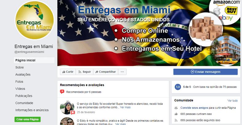 Facebook para aderir o serviço que te livra de taxa e IOF nas compras em Miami