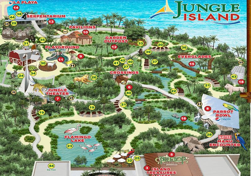Jungle Island em Miami Mapa