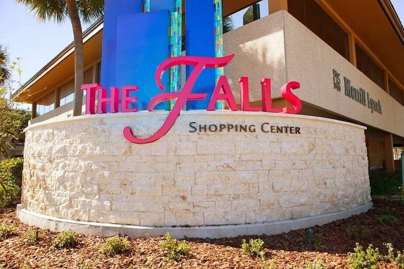 Placa do Shopping The Falls em Miami