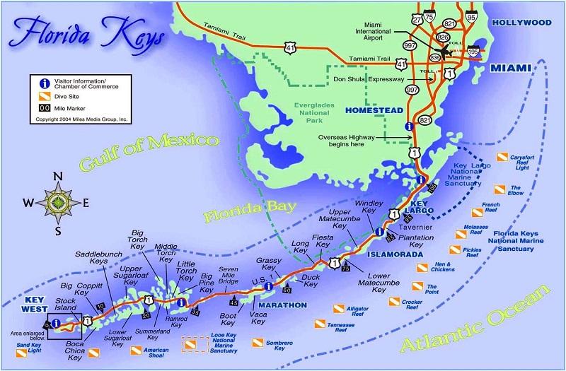 Mapa de Flórida Keys