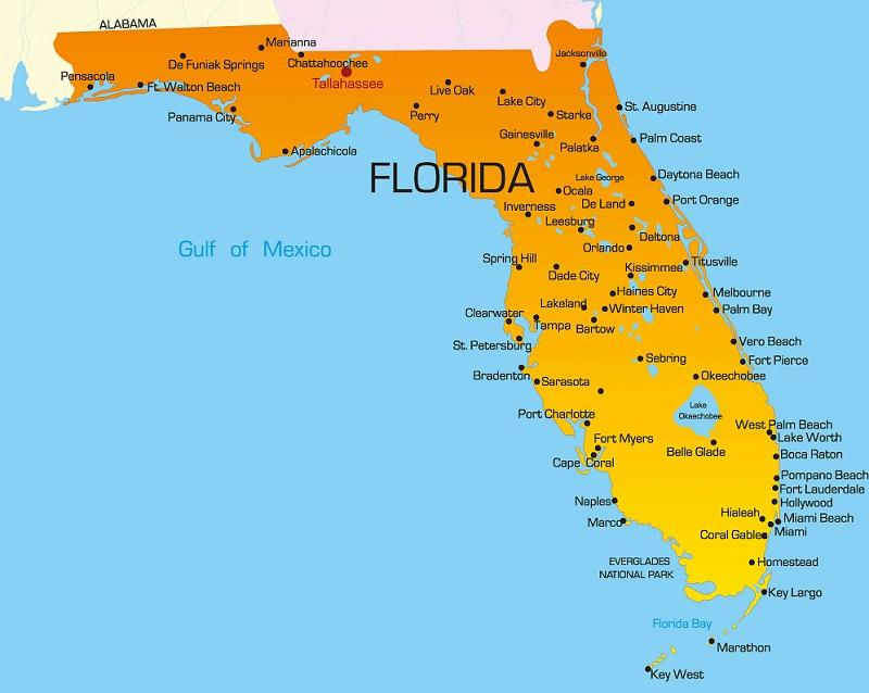 Mapa das cidades e regiões da Flórida