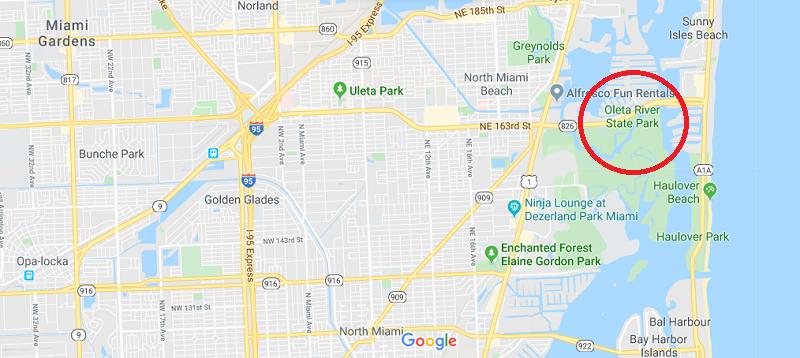 Localização do Oleta River State Park em Miami