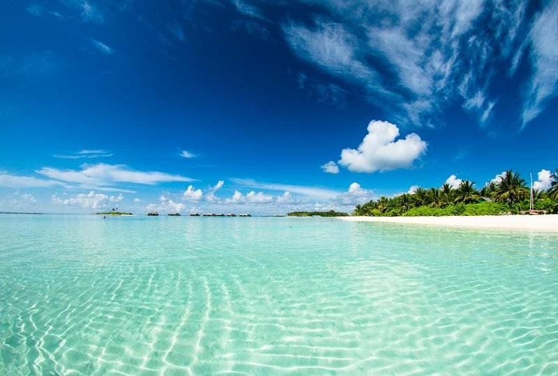 Mar cristalino de praia em Key West