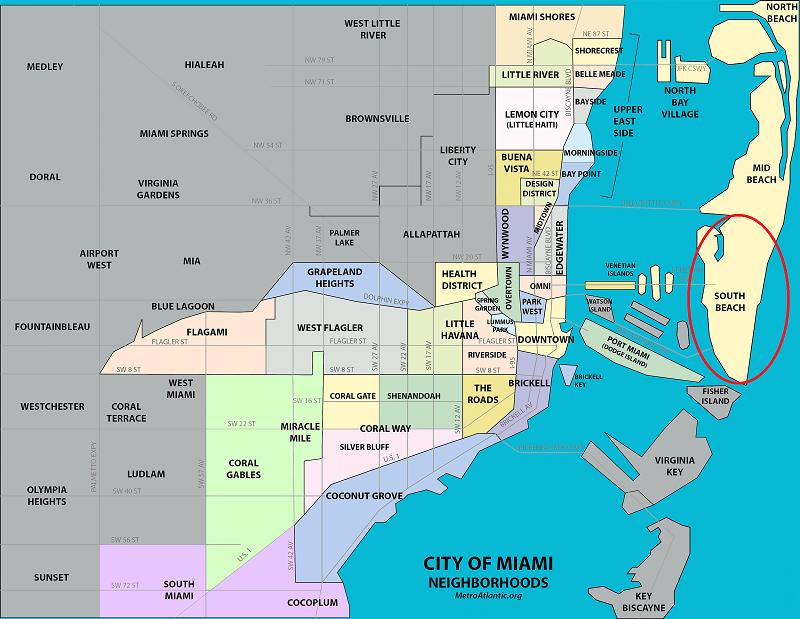 Localização de South Beach em Miami