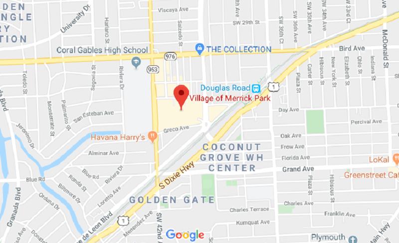 Localização do Shopping Village Of Merrick Park em Miami