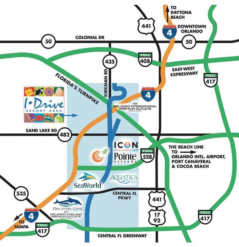 Mapa da International Drive em Orlando