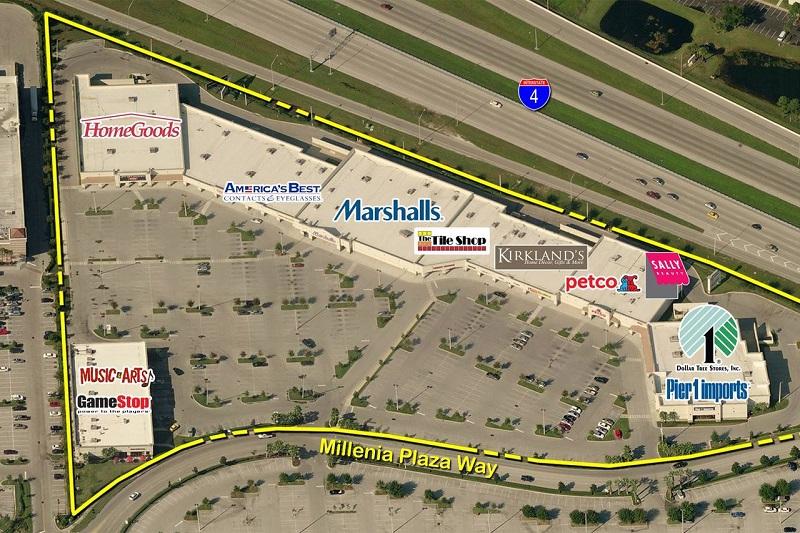 Lojas no centro de compras Millenia Plaza em Orlando