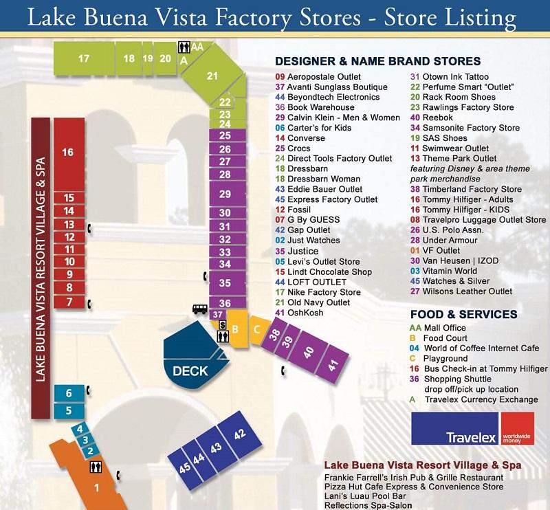 Mapa do outlet The Lake Buena Vista Factory Stores em Orlando